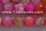 CAG8964 15.5 inches 8mm faceted round fire crackle agate beads