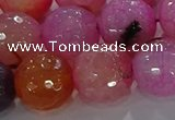 CAG8968 15.5 inches 16mm faceted round fire crackle agate beads