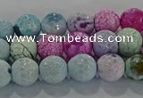 CAG8978 15.5 inches 4mm faceted round fire crackle agate beads