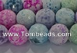 CAG8981 15.5 inches 10mm faceted round fire crackle agate beads