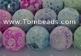CAG8982 15.5 inches 12mm faceted round fire crackle agate beads