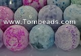 CAG8983 15.5 inches 14mm faceted round fire crackle agate beads