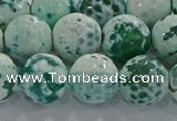CAG9010 15.5 inches 12mm faceted round fire crackle agate beads