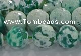 CAG9011 15.5 inches 14mm faceted round fire crackle agate beads