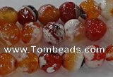 CAG9015 15.5 inches 8mm faceted round fire crackle agate beads