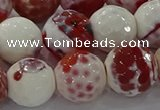 CAG9019 15.5 inches 16mm faceted round fire crackle agate beads