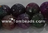 CAG9024 15.5 inches 12mm faceted round fire crackle agate beads