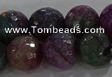 CAG9025 15.5 inches 14mm faceted round fire crackle agate beads