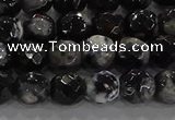 CAG9029 15.5 inches 6mm faceted round fire crackle agate beads