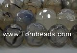 CAG9038 15.5 inches 12mm faceted round dragon veins agate beads