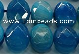 CAG9057 15.5 inches 15*20mm faceted oval line agate beads