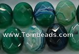 CAG9058 15.5 inches 15*20mm faceted oval line agate beads