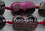 CAG9071 15.5 inches 16*30mm peanut-shaped fire crackle agate beads