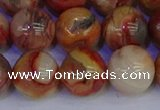 CAG9105 15.5 inches 14mm round red crazy lace agate beads