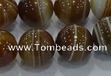 CAG9197 15.5 inches 14mm round line agate gemstone beads