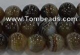 CAG9203 15.5 inches 8mm round line agate gemstone beads