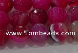 CAG9242 15.5 inches 10mm faceted round line agate beads wholesale