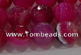 CAG9243 15.5 inches 12mm faceted round line agate beads wholesale