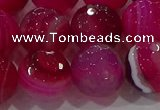 CAG9244 15.5 inches 14mm faceted round line agate beads wholesale