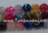 CAG9256 15.5 inches 6mm faceted round line agate beads wholesale
