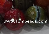 CAG9270 15.5 inches 20mm faceted round line agate beads wholesale