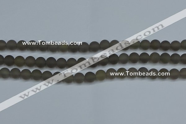 CAG9313 15.5 inches 10mm round matte grey agate beads wholesale