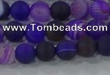 CAG9320 15.5 inches 6mm round matte line agate beads wholesale