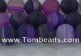 CAG9321 15.5 inches 8mm round matte line agate beads wholesale
