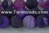 CAG9322 15.5 inches 10mm round matte line agate beads wholesale