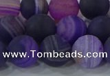 CAG9323 15.5 inches 12mm round matte line agate beads wholesale