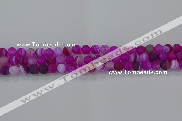 CAG9326 15.5 inches 6mm round matte line agate beads wholesale