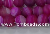CAG9327 15.5 inches 8mm round matte line agate beads wholesale