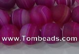 CAG9329 15.5 inches 12mm round matte line agate beads wholesale