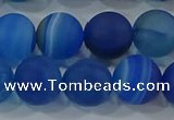 CAG9334 15.5 inches 12mm round matte line agate beads wholesale