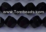 CAG9353 15.5 inches 10mm faceted nuggets black agate beads