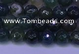 CAG9362 15.5 inches 8mm faceted round moss agate beads wholesale