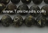 CAG9383 15.5 inches 10mm round matte turritella agate beads