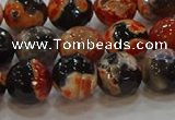 CAG9458 15.5 inches 10mm faceted round fire crackle agate beads