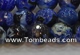 CAG9463 15.5 inches 10mm faceted round fire crackle agate beads