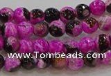CAG9466 15.5 inches 6mm faceted round fire crackle agate beads