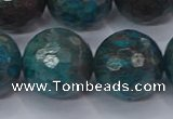 CAG9487 15.5 inches 18mm faceted round blue crazy lace agate beads
