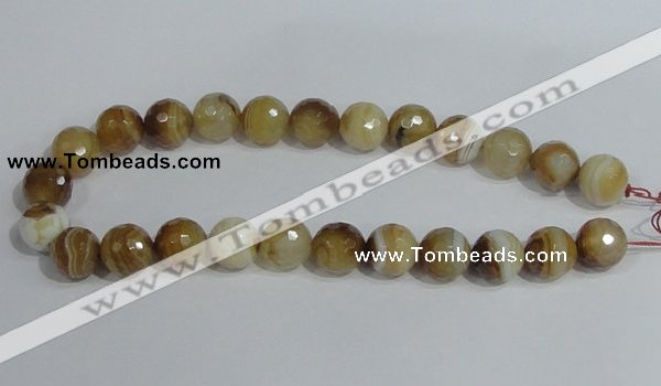 CAG949 16 inches 16mm faceted round madagascar agate gemstone beads