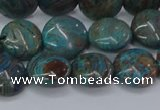 CAG9514 15.5 inches 12mm flat round blue crazy lace agate beads