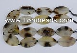 CAG9533 15.5 inches 30*50mm oval grey agate gemstone beads