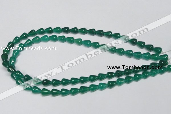 CAG956 15.5 inches 8*10mm teardrpop green agate gemstone beads