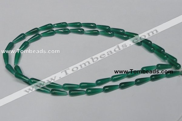 CAG957 15.5 inches 6*16mm teardrpop green agate gemstone beads