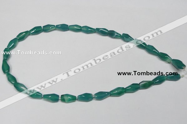 CAG958 15.5 inches 8*14mm faceted rice green agate gemstone beads