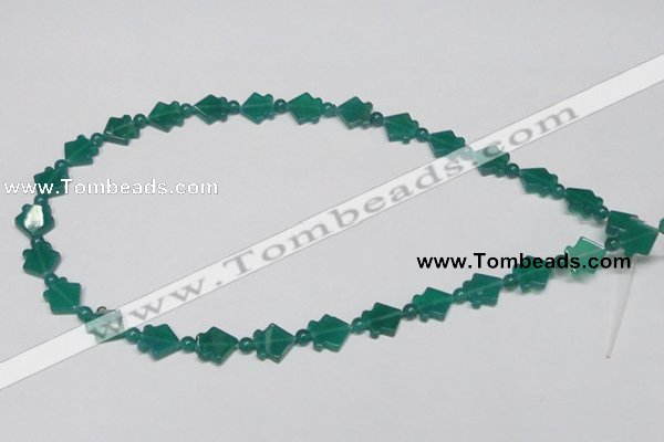 CAG963 15.5 inches 10*10mm fish green agate gemstone beads wholesale