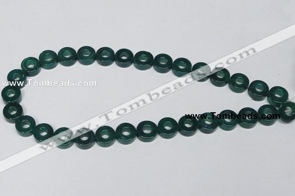 CAG964 15.5 inches 13mm donut green agate gemstone beads wholesale
