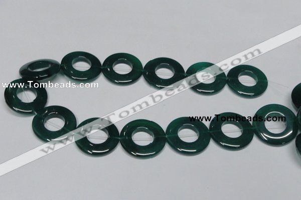 CAG965 15.5 inches 30mm donut green agate gemstone beads wholesale